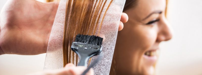 Close up of a hair dyeing.